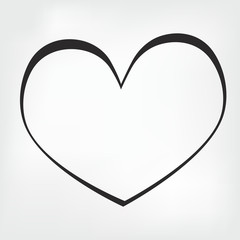 Hand drawn black heart on white background Vector symbol.