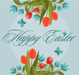 Easter card with the inscription Happy Easter for holiday design. EPS10.