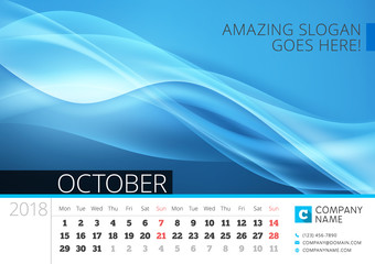 Desk line calendar for 2018 Year. October. Vector design print template with abstract background. Week starts on Monday