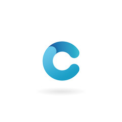 Letter C logo. Blue vector icon. Ribbon styled font.