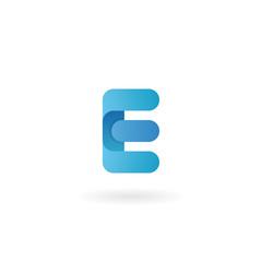 Letter E logo. Blue vector icon. Ribbon styled font.