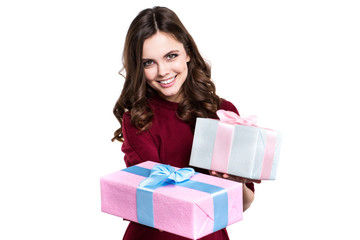 Pretty woman hands many presents isolated.