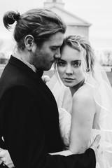 Black and White Bohemian Couple Wedding Portrait