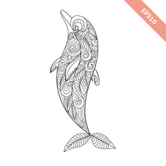 Vector illustration cartoon dolphin with floral doodle ornament. Design for coloring book page. Decorative element