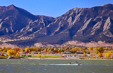 Boulder, Colorado reservoir and Flatiron mountains