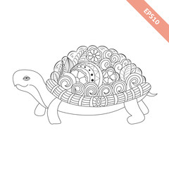 Vector illustration cartoon turtle with floral doodle ornament. Design for coloring book page. Decorative element