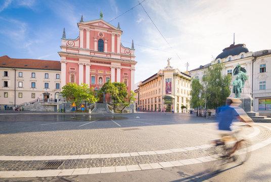 The Preseren Square and the Franciscan Annunciation Church. Old town of Ljubljiana, Osrednjeslovenska, Slovenia.