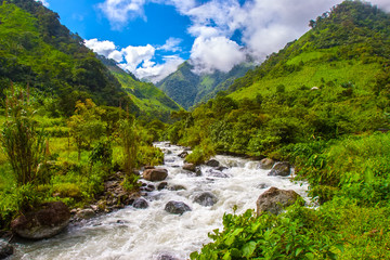 Mountains of the Andes. Mountain river in the Andes. Ecuador.