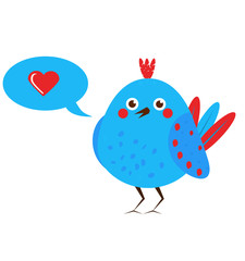 Cute blue bird with speech bubble with like icon
