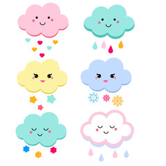 Cute clouds vector illustration for kids. isolated design children. baby shower clouds