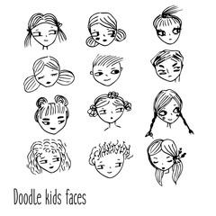 Doodle kids faces. Hand drawn children avatars. Artistic design elements