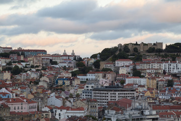 Lisbon, Portugal - The Old Part of the City at Dusk