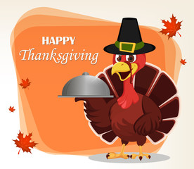 Thanksgiving greeting card with a turkey bird wearing a Pilgrim hat and holding restaurant cloche.