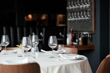 Vine Glasses on the Restaurant Table