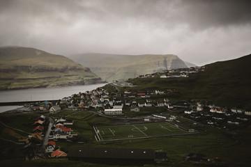 Soccer Field Next to the Atlantic Ocean in the Faroe Islands