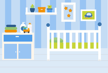 Nursery room interior. Apartment in blue colors and white furniture. Baby boy bedroom design with bed, shelves, toys. Vector illustration.