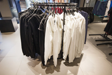 Fashionable jacket clothes in a boutique store ,Shopping fashion in retail store, concept