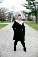 Beautiful woman in a winter coat