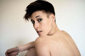 nude androgynous woman