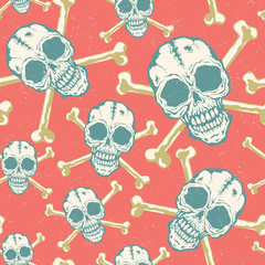 Vintage vector pattern with skulls.