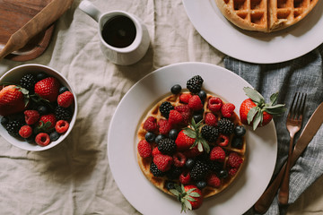 Fruit and Waffles on the Table for Breakfast or Brunch - Lifestyle Food