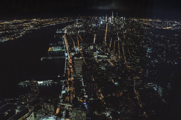 Night cityscape,view from 102 floor on the New York streets and buildings