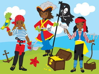 Vector African American Pirate Girls