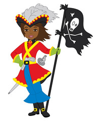Vector African American Pirate Girl with Jolly Roger Flag