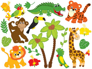 Vector Cartoon Safari Animals. Vector Jungle Animals