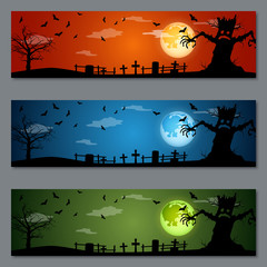 Halloween colorful vector banners collection