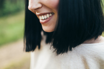 Extremely close-up of smiling girl