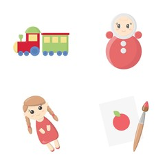 Train.kukla, picture.Toys set collection icons in cartoon style vector symbol stock illustration web.
