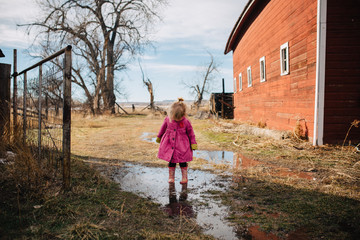 Toddler girl standing in puddle