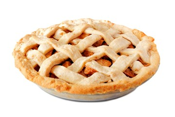 Homemade apple pie with lattice pastry isolated on a white background, side view