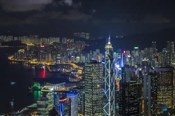 Hong Kong, SAR China - Nighttime View from Victoria Peak towards Wan Chai and Causeway Bay