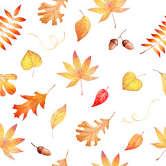 Watercolor seamless pattern with autumnal colorful leaves