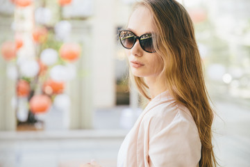 Close-up of woman in sunglasses