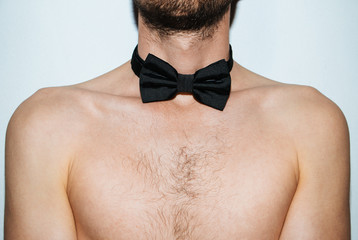 Man neck with bow tie