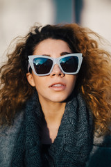 Closeup Portrait of Beautiful Woman With Fashionable Sunglasses