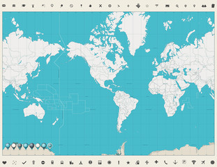 Fototapete - World Map Americas Centered Map Vintage color and map markers. No text