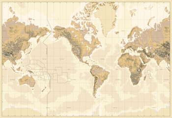 Wall Mural - Vintage Physical World Map-America Centered-Colors of Brown. No text