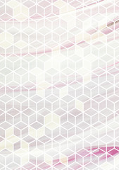 Watercolor marble background with geometric cube pattern.