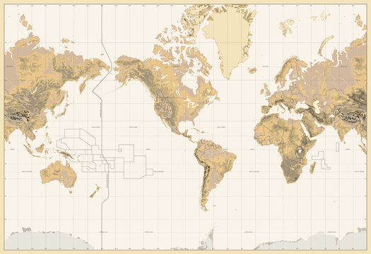 Vintage Physical World Map-America Centered-Colors of Brown. No bathymetry and text