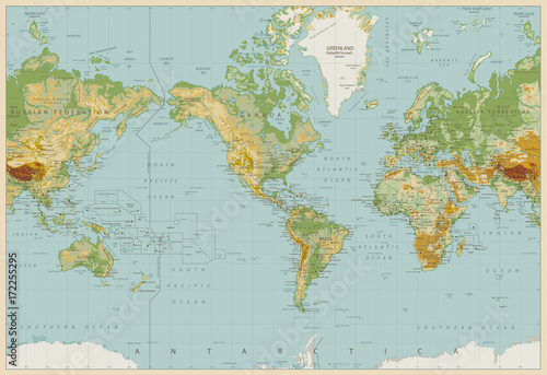 Vintage color america centered physical world map stock image and vintage color america centered physical world map gumiabroncs Images