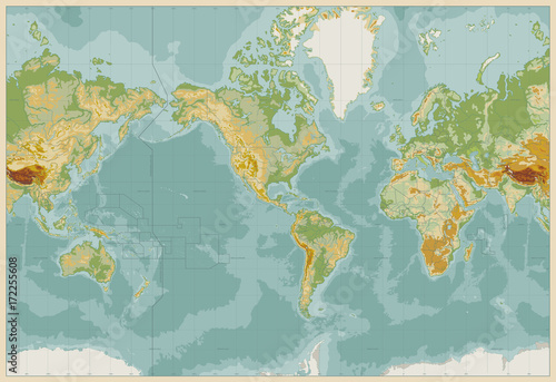 America centered physical world map vintage color no text stock america centered physical world map vintage color no text gumiabroncs Choice Image