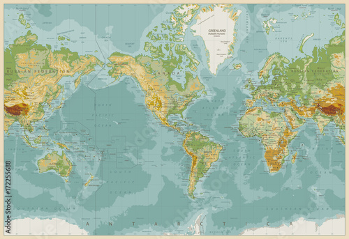 America centered physical world map vintage color stock image and america centered physical world map vintage color gumiabroncs Choice Image