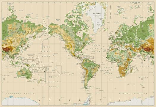 America Centered Physical World Map On Retro White
