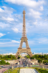 The Eiffel Tower on a beautiful  day in Paris