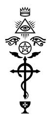 CRUX SERPENTINES (The Serpent Cross). Mystical signs and Occult symbols of Illuminati and Freemasonry.