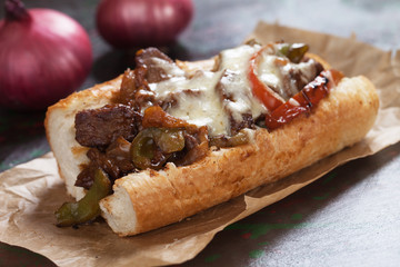 Aluminium Prints Snack Philly cheese steak sandwich